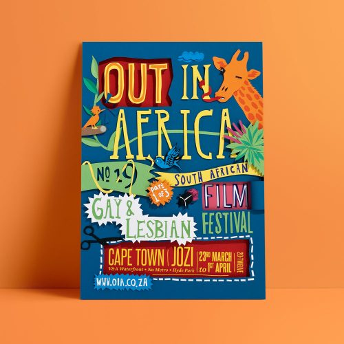 Out in Africa gay and lesbian advertising campaign poster design